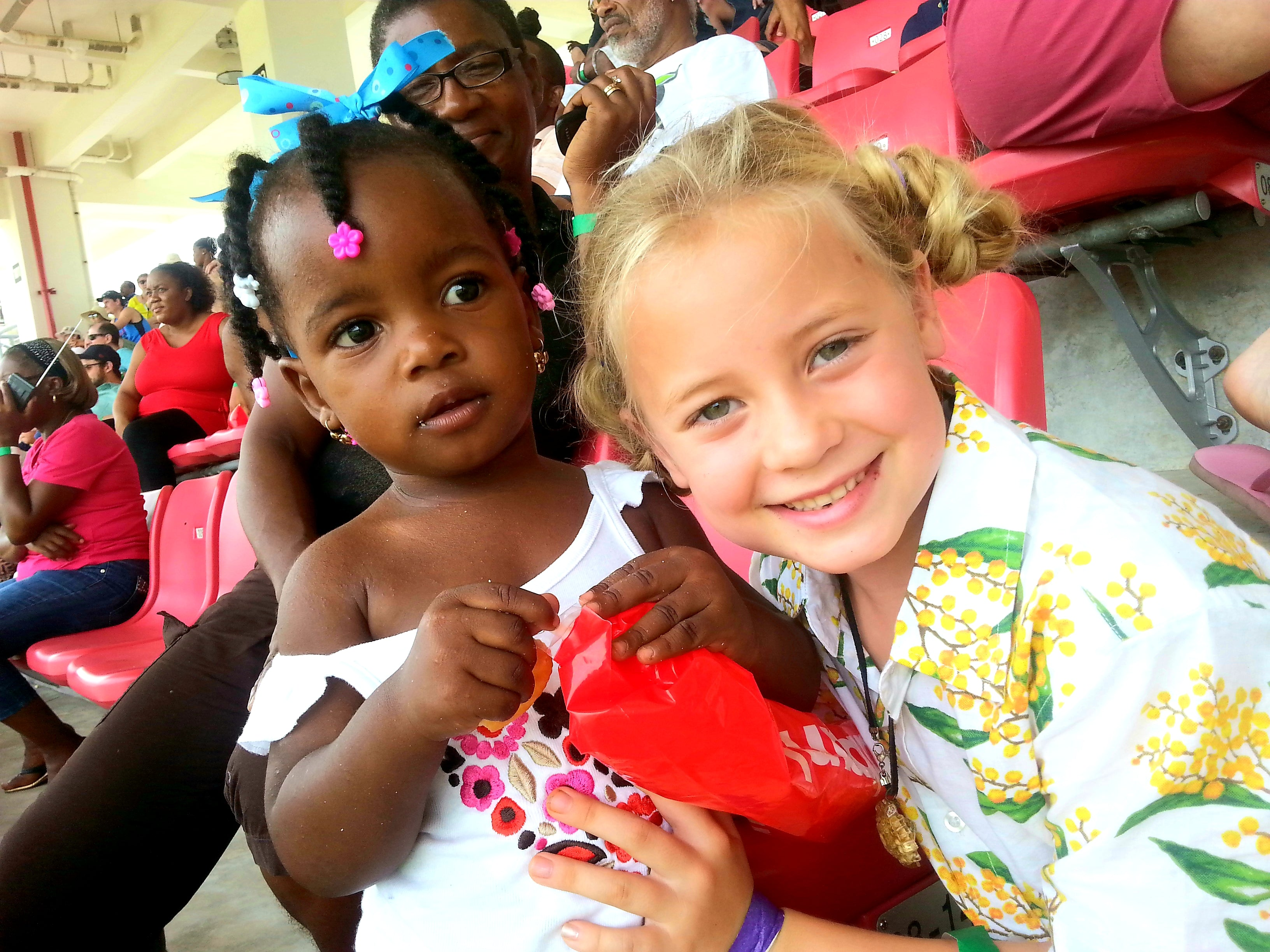 Australian Cricket Tours - Our Youngest Ever Client, Marli, Playing With A Young Dominican Girl At The Cricket