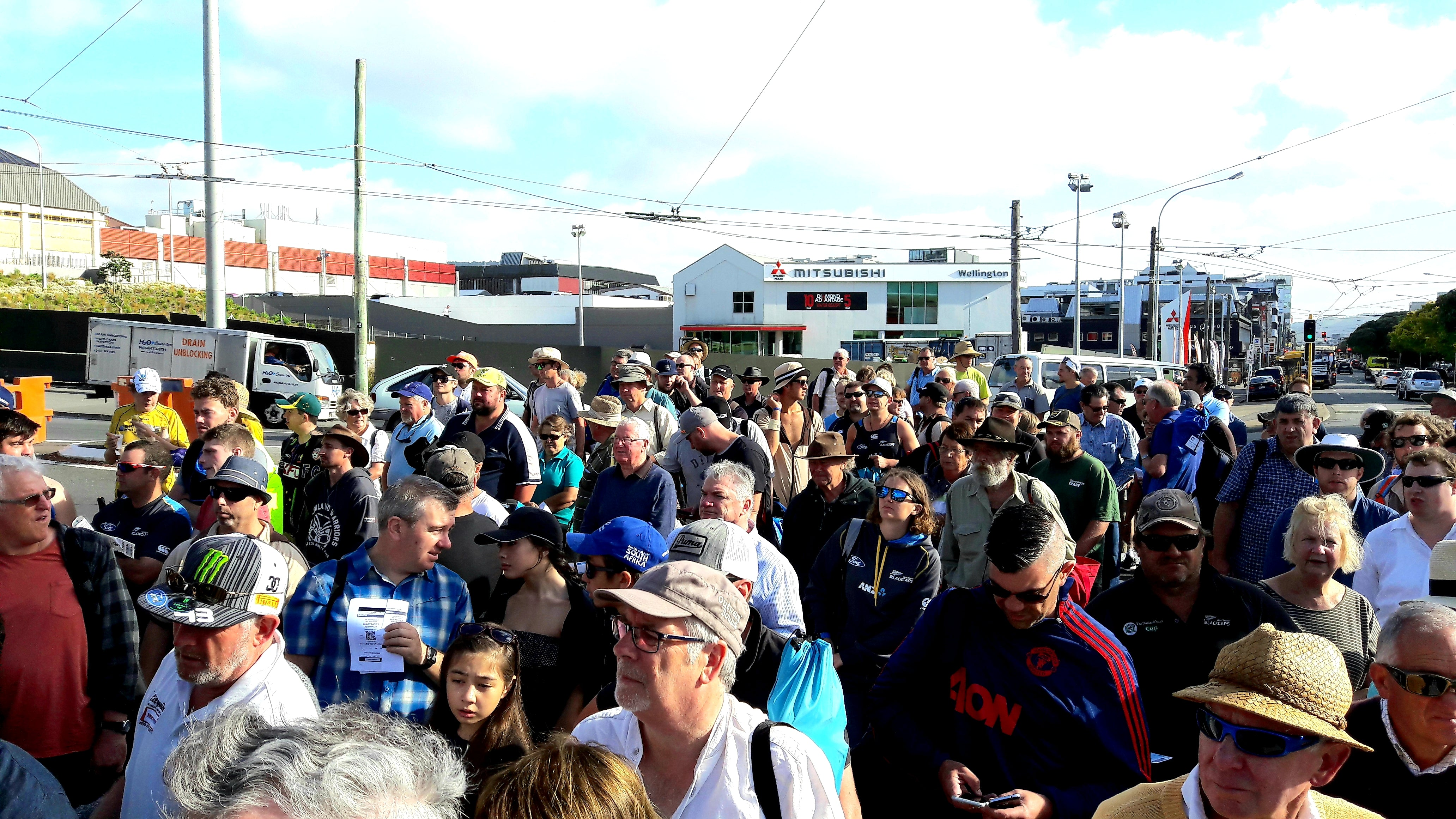 Australian Cricket Tours - The Crowd Lined Up Outside The Basin Reserve, Wellington, To Watch Australia Vs New Zealand In 2016