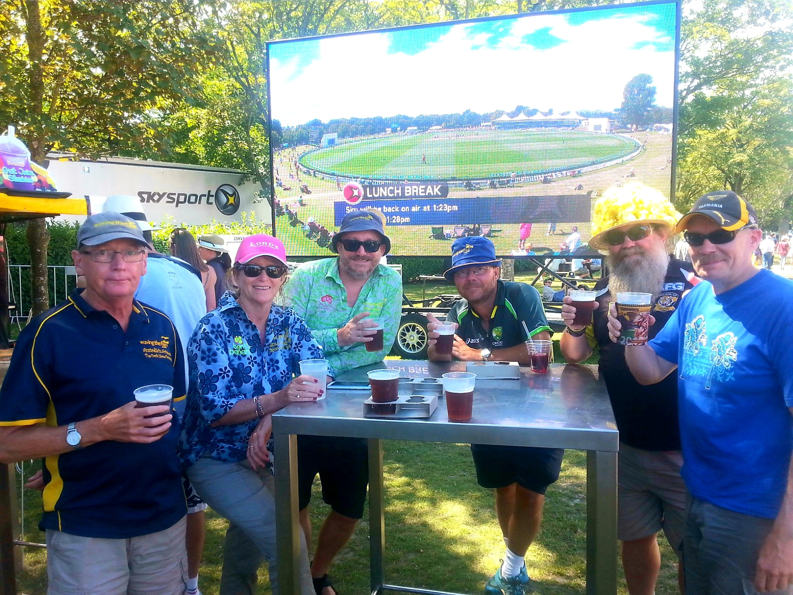 Australian Cricket Tours - Australian Cricket Tourists Standing 'Down The Back' Of The Embankment At A Table, Drinking Beer At Hagley Oval, Christchurch, New Zealand