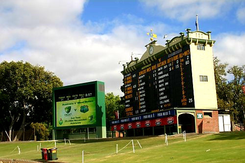 Australian Cricket Tours - The Famous Adelaide Oval Scoreboard On The Hill Backdropped By Gorgeous Morton Bay Figs