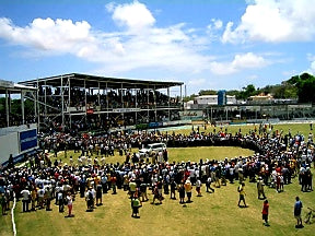 Australian Cricket Tours - The Crowd On The Field After Australia Vs West Indies 2nd Test Match 1995 At The Antigua Recreation Ground
