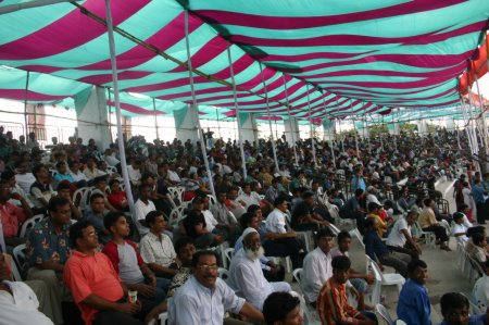 The Crowded Gallery Of The Cricket Ground In Bangladesh