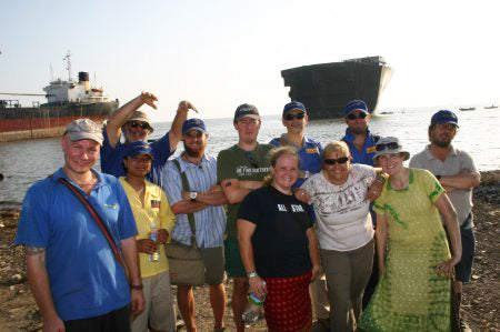 A Small Group Of Flaggers Visiting The Ship-Breaking Yards Of Bhatiari Beach In 2006