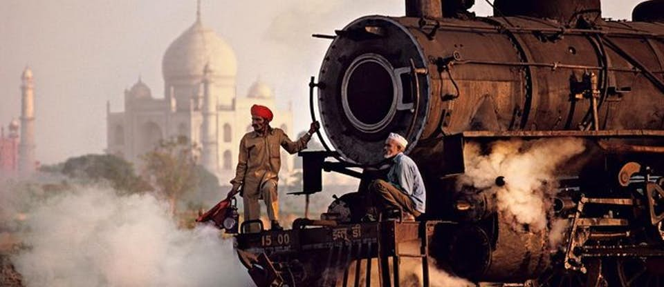 Australian Cricket Tours - Indian Railways | A Steam Train With Two Workers On The Front Passes The Taj Mahal | Agra | India