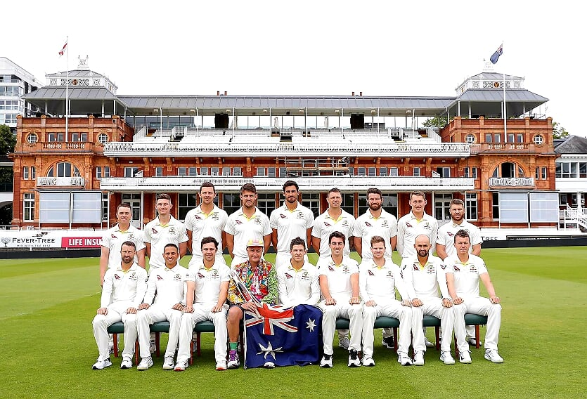 Australian Cricket Tours - Photograph Of Luke Gillian With The Australian Cricket Team On The Field At Lord's To Celebrate Luke Gillian's 200th Australian Test Match
