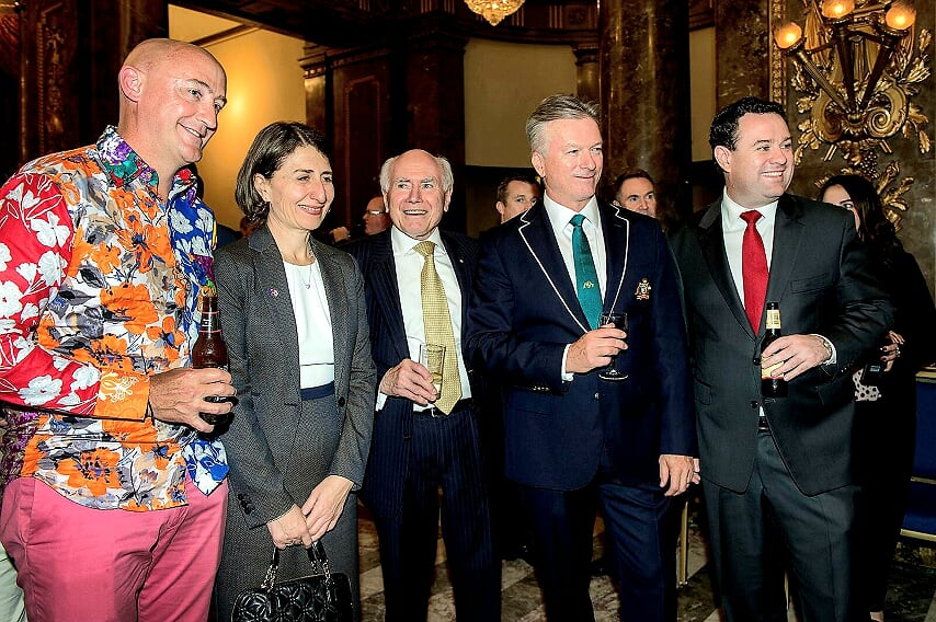 Australian Cricket Tours - Ashes Lord's Test Match Function At Australia High Commission, London. Photo With Luke Gillian, John Howard, Steve Waugh, And Gladys Berejiklian