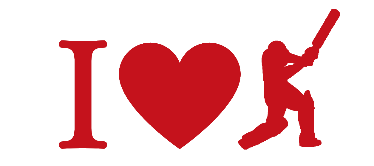 Australian Cricket Tours - I Love Cricket T-Shirt Image Using A Capital 'I', A Heart, And A Silhouette Of A Batsman Cover Driving. All Characters Are Cricket Ball Red.