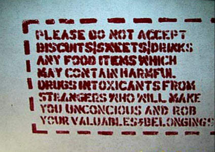 Australian Cricket Tours - A Sign On Indian Railways Warning About The Dangers Of Eating Food And Drink Offered By Others