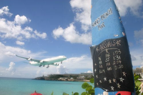 Australian Cricket Tours - Air France A340 On Short Final Over Maho Beach As Seen From The Sunset Beach Bar