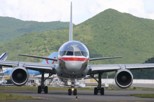 Australian Cricket Tours - American Airlines B757 On Taxiing Toward Maho Beach For Take Off