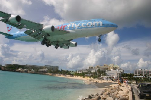 Australian Cricket Tours - Corsair Fly B747 On Short Final Over Maho Beach As Seen Sunset Beach