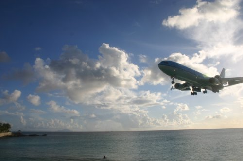 Australian Cricket Tours - KLM MD11 On Short Final Over Maho Beach As Seen From Sonesto Maho Beach Resort