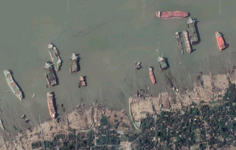 Aerial View Of The Ship-Breaking Yards On Bhatiari Beach, Chattogram, Bangladesh