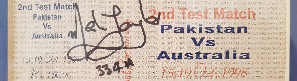 Australian Cricket Tours - Australia v Pakistan Match Ticket From 1998, Signed By Mark Taylor