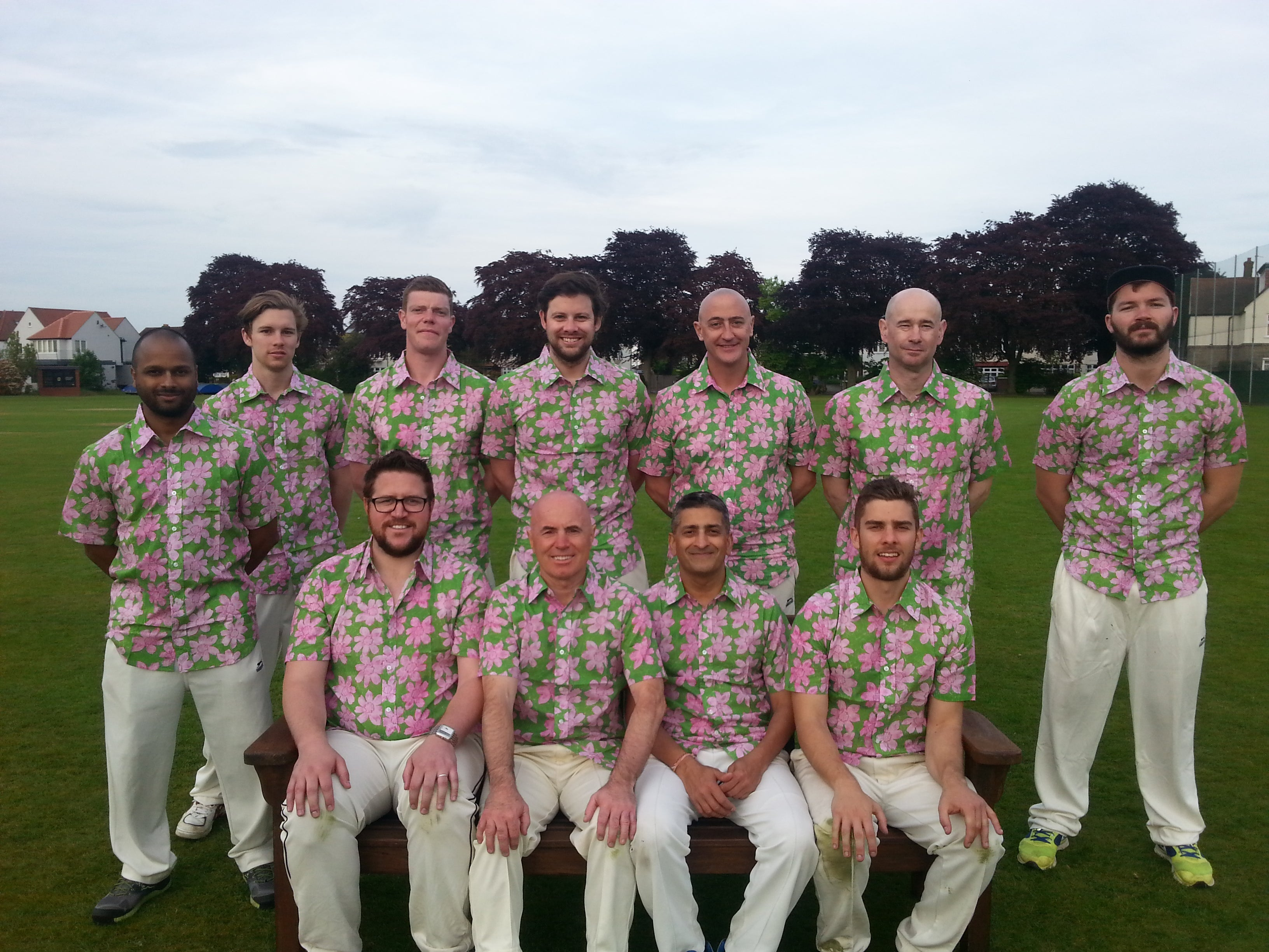 Australian Cricket Tours - Nepotists Cricket Club Team Photo Wearing Their Bent Banani Floral Shirts Team Wear After Playing At Barnes Cricket Club