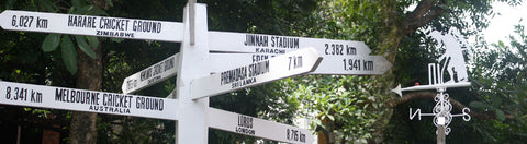 Australian Cricket Tours - Signpost Pointing To The Great Cricket Grounds Of The World At Cricket Club Cafe | Colombo | Sri Lanka