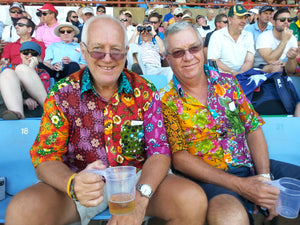 Timothy & Graham Enjoying The Game In Their Bent Banani Floral Shirts