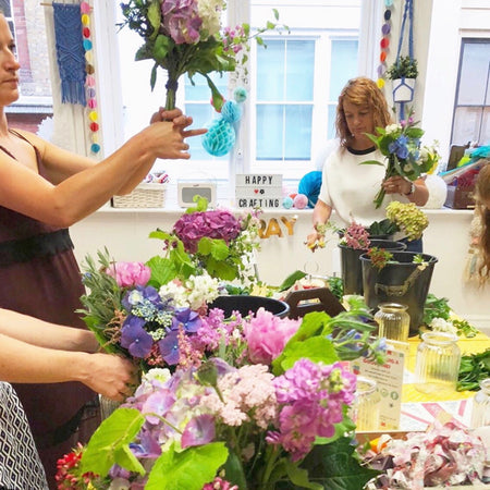 Hand Tied Floral Bouquet Workshop (includes a beautiful glass vase)