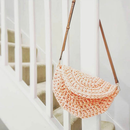 Beyond Beginners - Crochet a Contemporary Moon Bag with Leather Straps