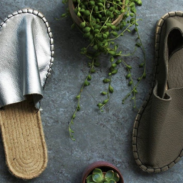 DIY Make Your Own Leather Espadrille Slippers or Sandals