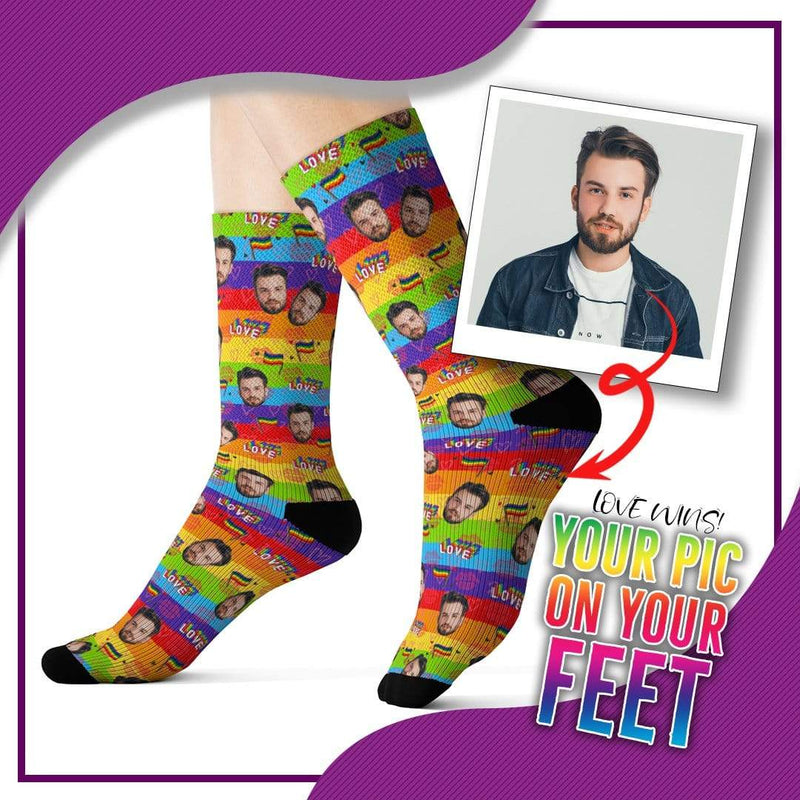 Customized Pride Socks with Picture Design 3