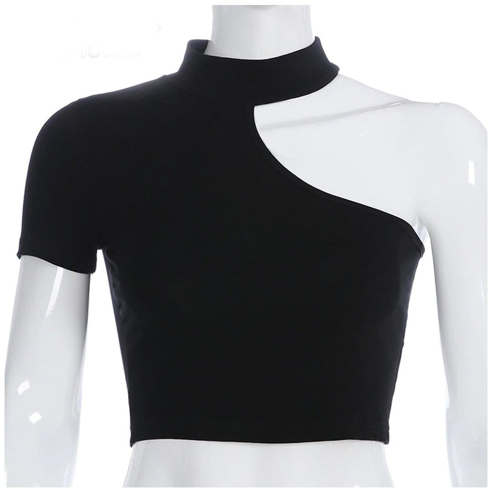 Sexy Goth Off Shoulder Crop Top
