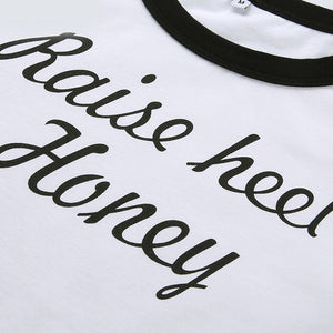 Raise Heel Honey Sexy Short Sleeve Hot Tee Crop Top