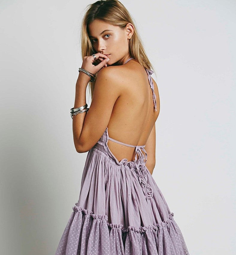 Sexy Backless Sling Beach Dress