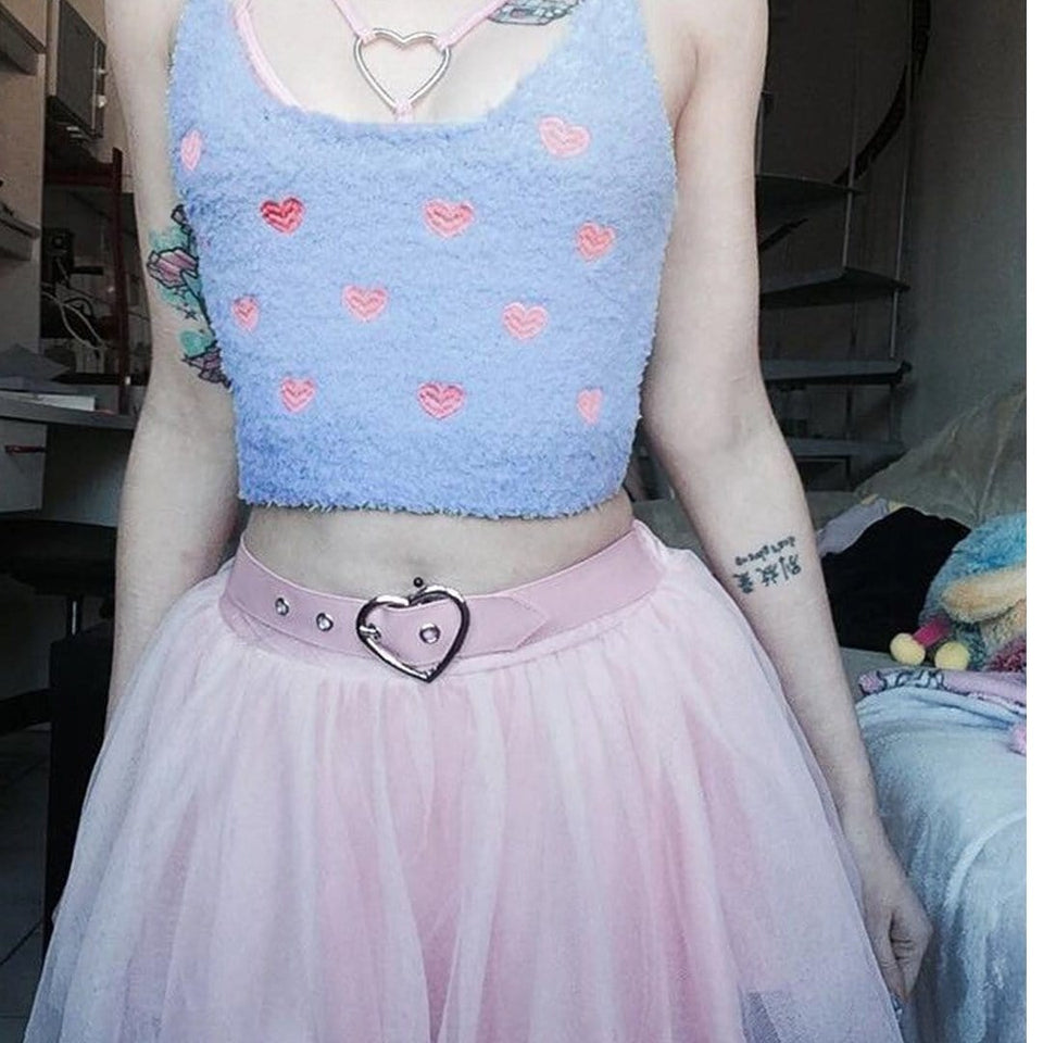 Pink Heart Sexy Casual Summer Festive Crop Top