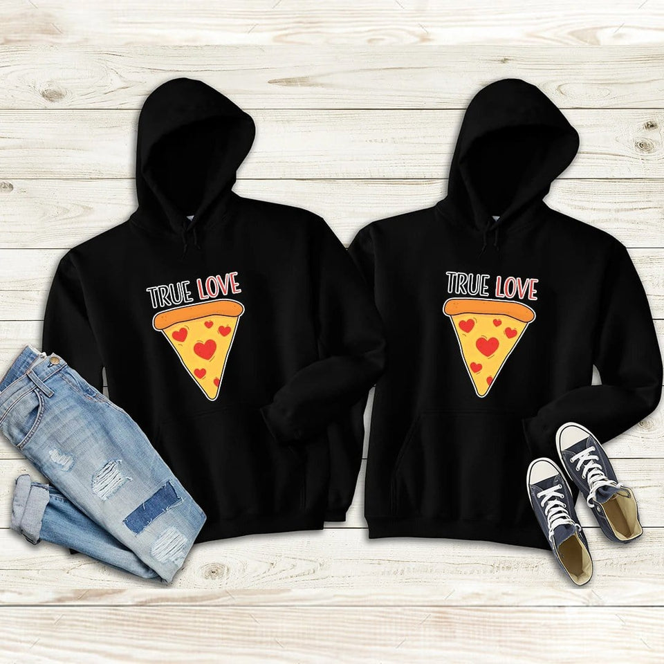 Pizza Is True Love Couple Hoodies