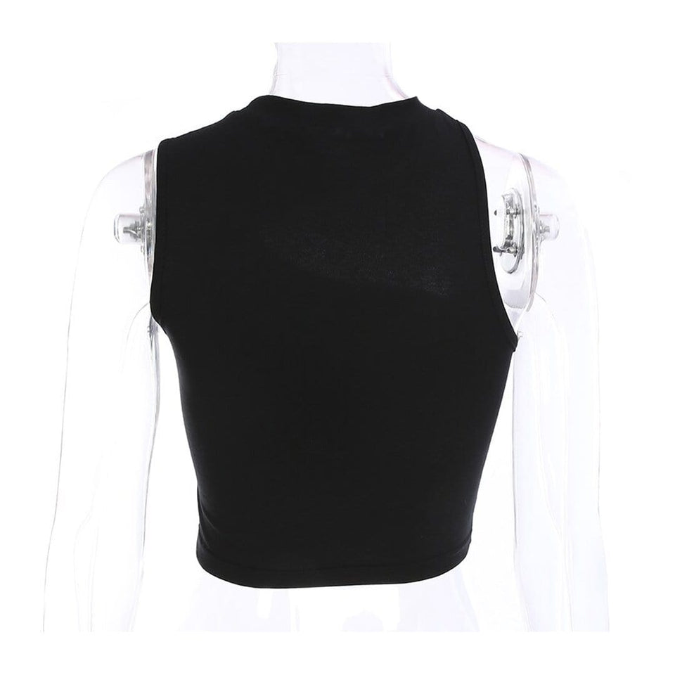 Inverted V Sleeveless Crop Top