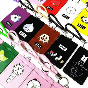 BTS BT21 BLACKPINK GOT7 WANNA ONE EXO TWICE SEVENTEEN ID Card Lanyard