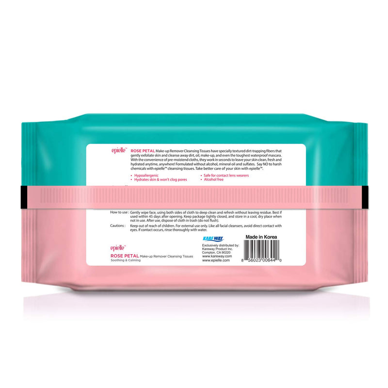 Epielle Rose Petal Makeup Remover Cleansing Tissues (Pack of 4)