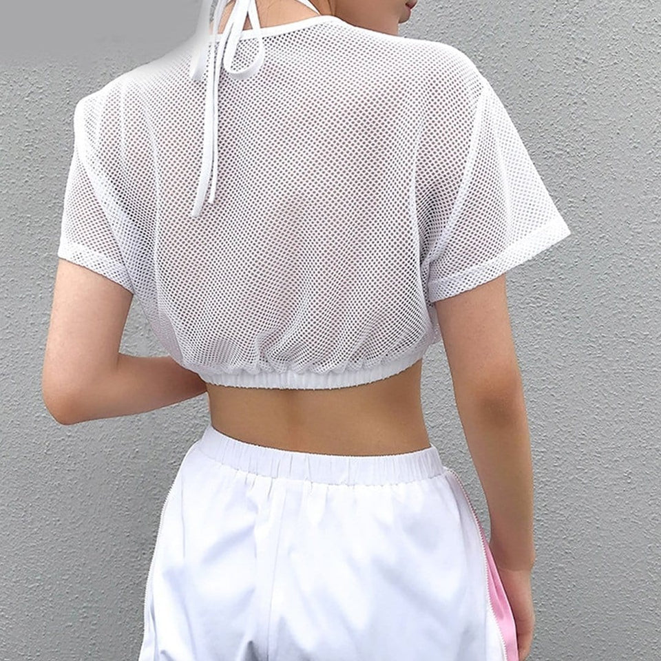 Hollow Out Net Surface Summer White Crop Top