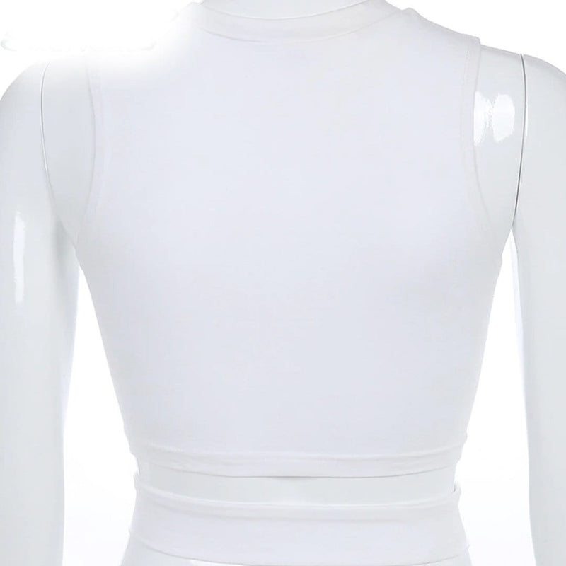 White Sleeveless I Am Hotty Print Crop Top