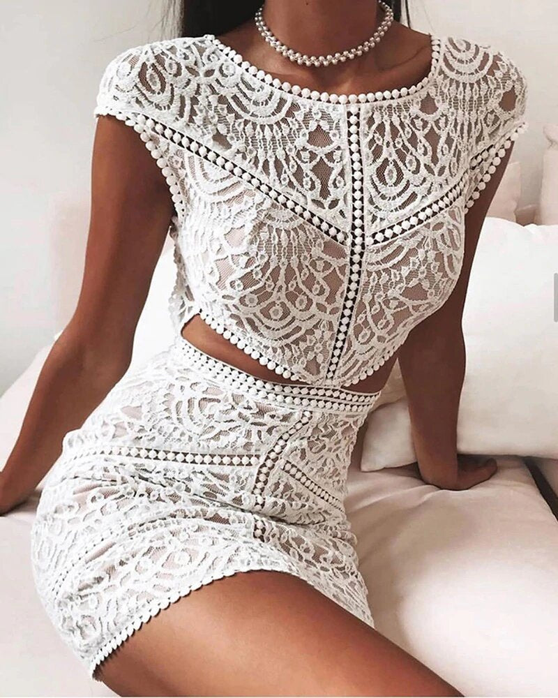 Crochet Lace Mesh Mini Dress