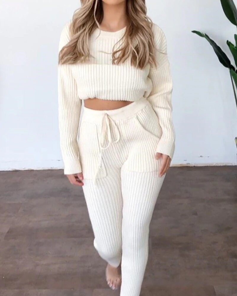 Ribbed Long Sleeve Top & Drawstring Pants Set