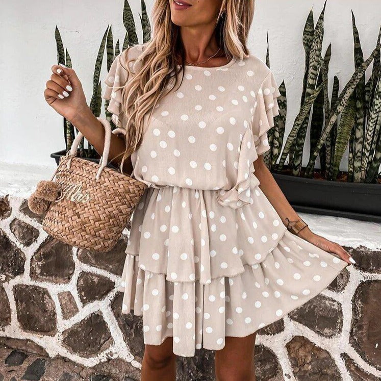 Polka Dot Layered Mini Dress