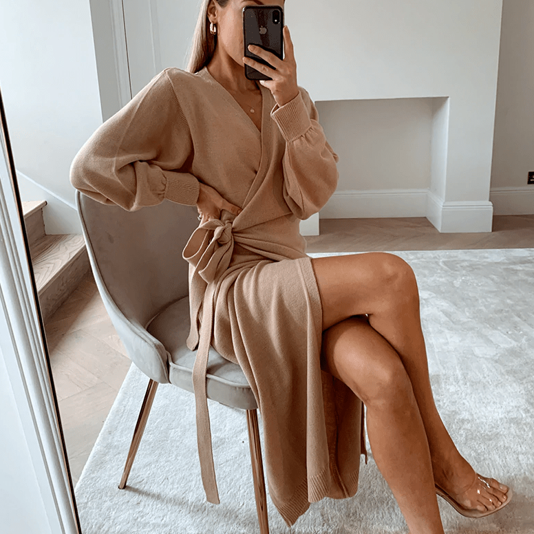 Winter Knitted Wrap Dress