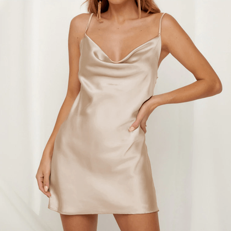 Champagne Satin Party Dress