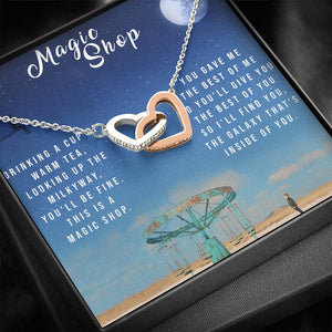 To My Beautiful Wife Interlocking Hearts Necklace