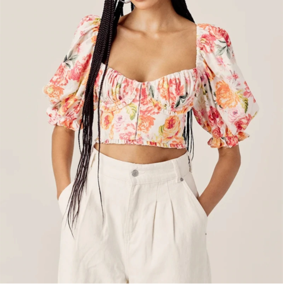 Multicolor Floral Print Crop Top