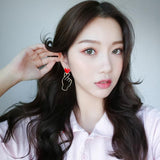 Cute Red Finger Heart Earrings