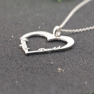 Big Heart Custom Name Necklace - Stainless Steel