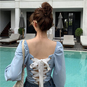 Bohemian Backless Long Sleeve Top