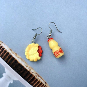 Bubble Tea Asymmetric Drop Earrings