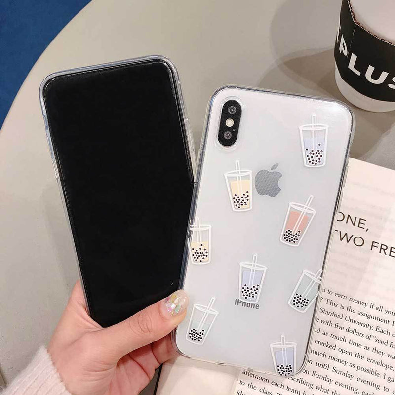 Lovely Pearl Milk Tea Transparent Phone Case For iPhone