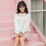 Harajuku Peach Embroidered Sweatshirt