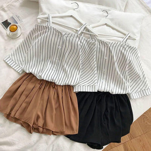 Khloe Fresh Style Off-Shoulder Loose Top + Short