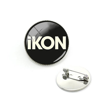 iKON Glass Cabochon Metal Badges Pin